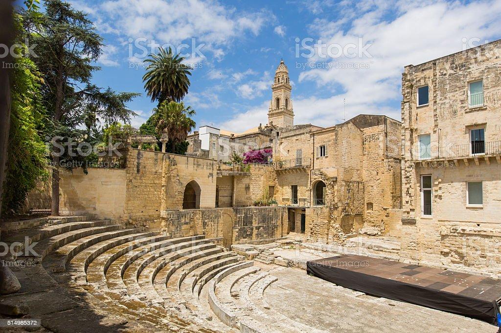 Little roman amphitheatre  in Lecce stock photo