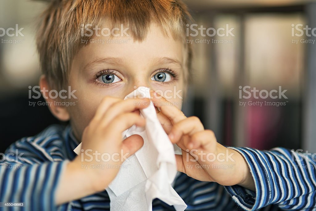 Little runny nose stock photo