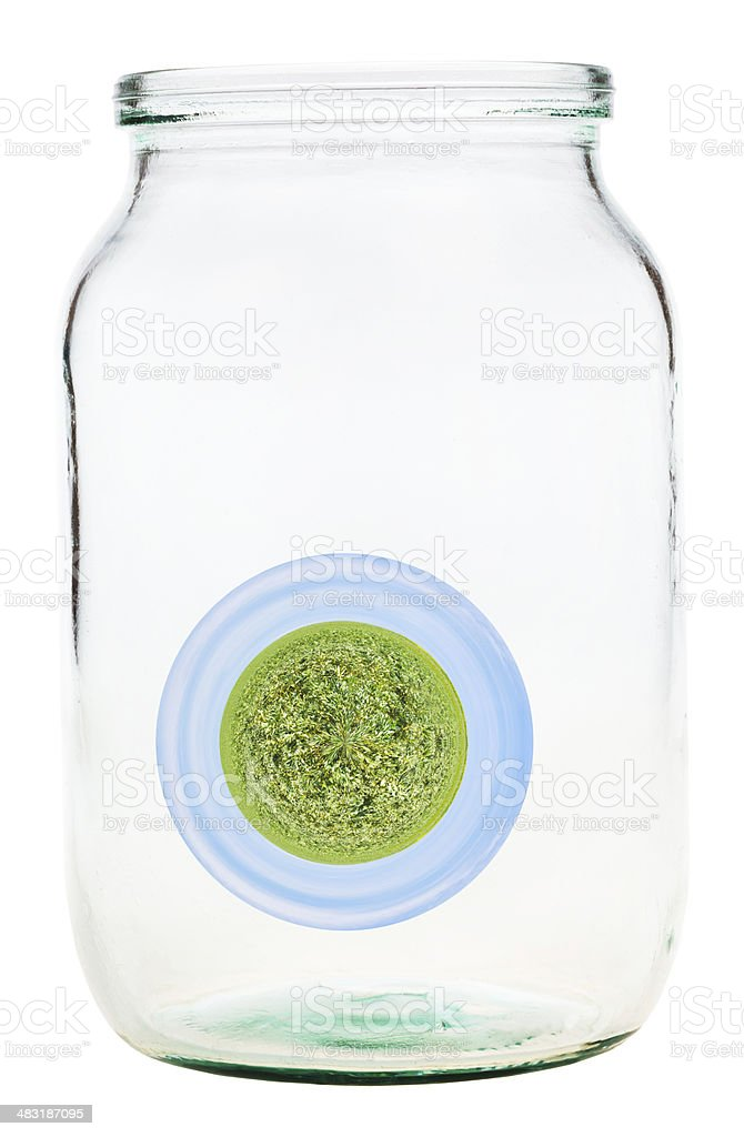 little rural planet in glass jar stock photo