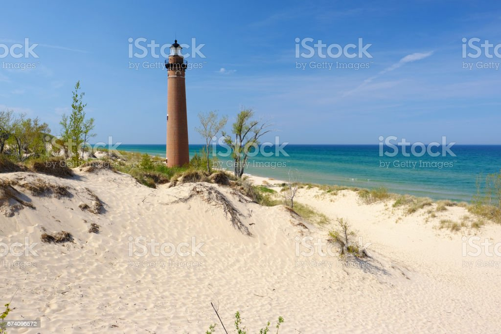 Little Sable Point Lighthouse in dunes, built in 1867 royalty-free stock photo