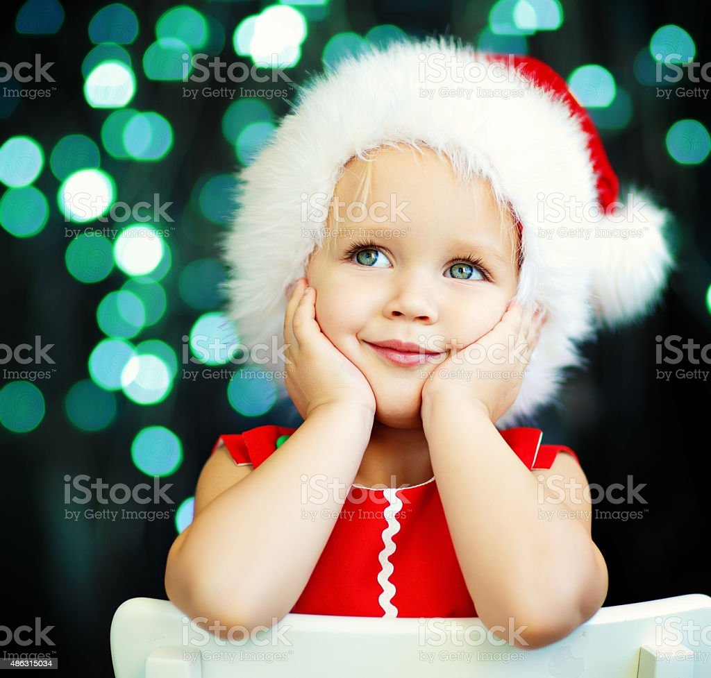 Little Santa helper stock photo