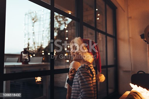 Cute little boy with Santa's hat and his little sister looking through the window