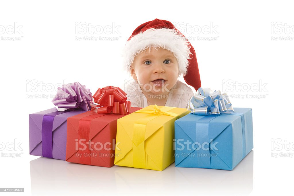 Little Santa with presents royalty-free stock photo