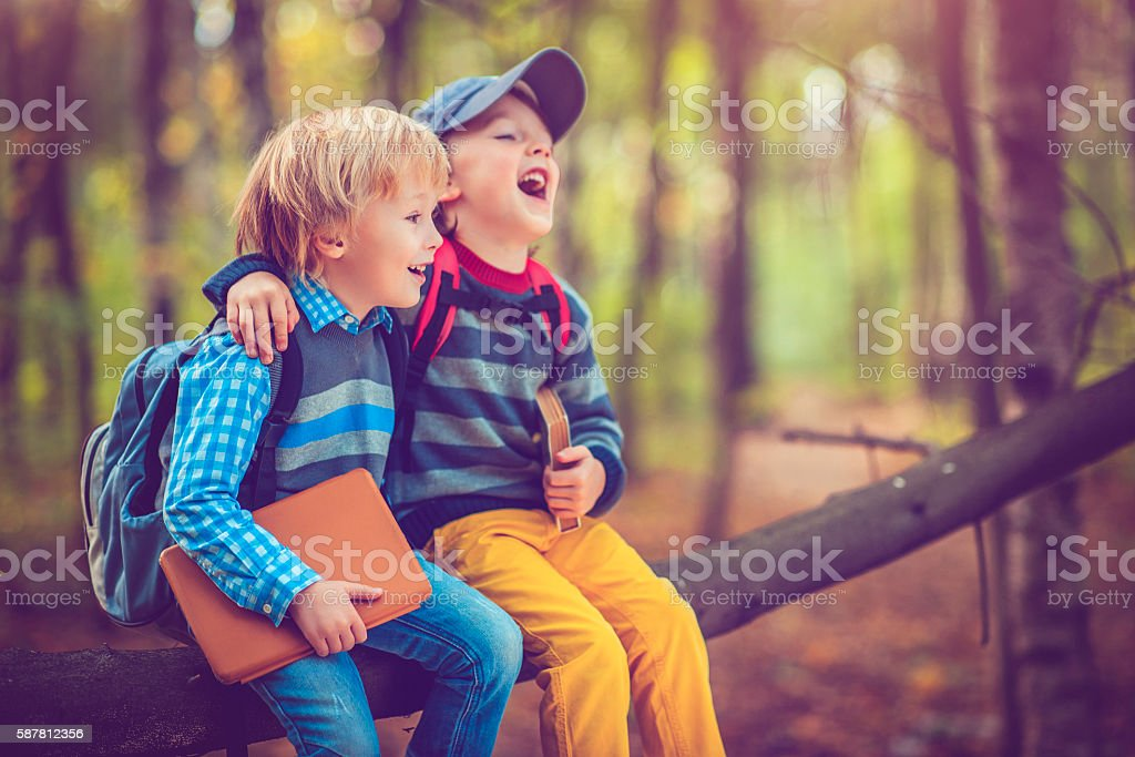 Little schoolboys in autumn stock photo