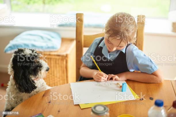 Little schoolgirl sketching her pet dog picture id860697116?b=1&k=6&m=860697116&s=612x612&h=ff2etcdjexcbjkdmfv2mtpuewp3zibldqqx2 uifi90=