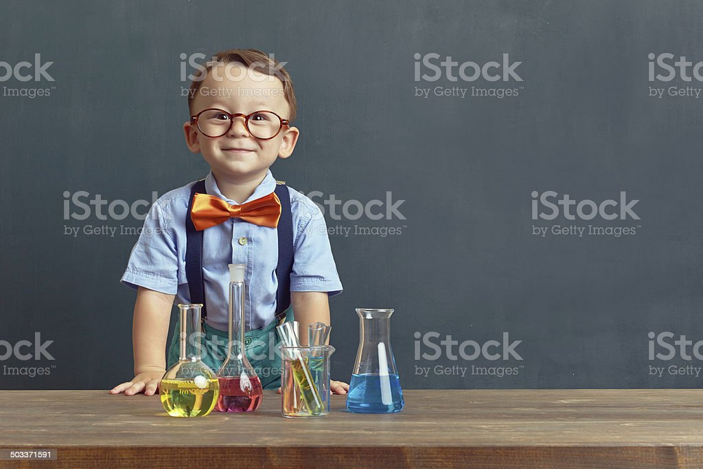 Little scientist stock photo