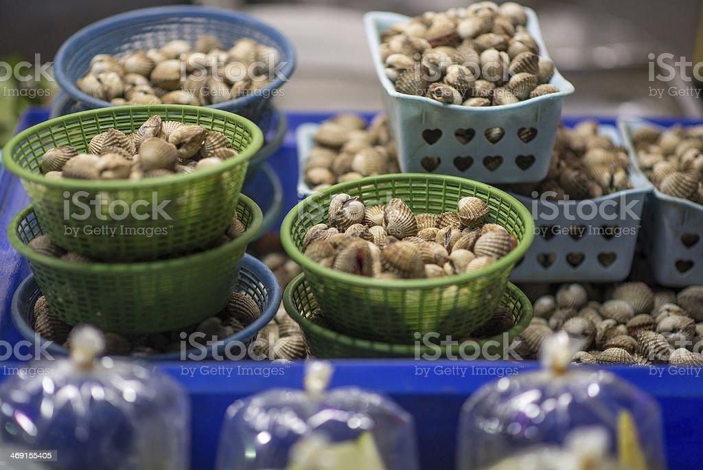 Little shells in baskets stock photo