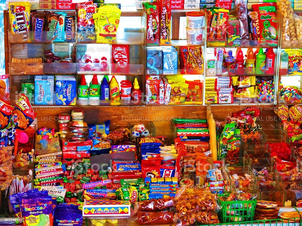 little shop with sweets in Mexico stock photo