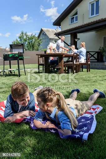 istock little siblings resting on american flag with family having picnic behind 802442970