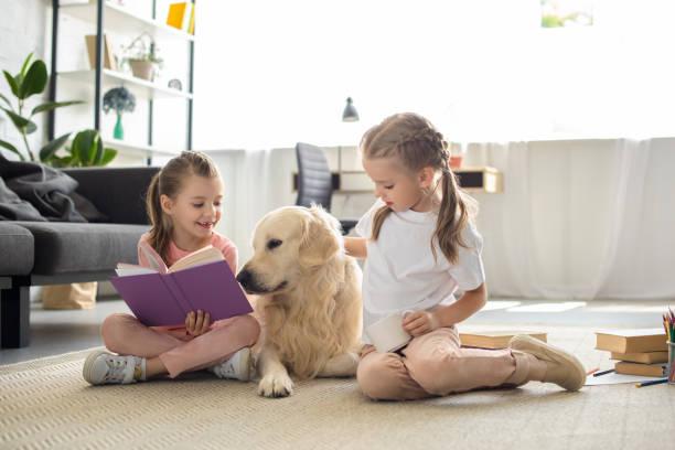 sorelline con libri e cane golden retriever vicino da seduto sul pavimento a casa - bambino cane foto e immagini stock
