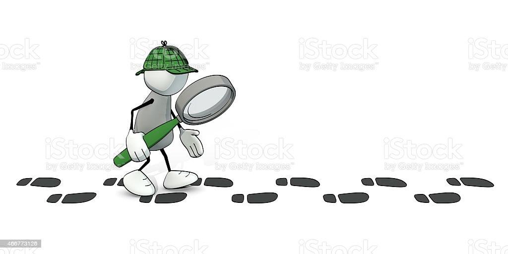 little esquisse de détective homme en suivant un sentier de l'empreinte - Photo