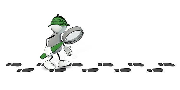 little sketchy man as detective following a track of footprints - sherlock holmes stock photos and pictures