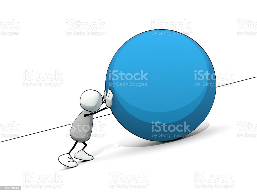 little sketchy man as sisyphus rolling a big blue ball stock photo