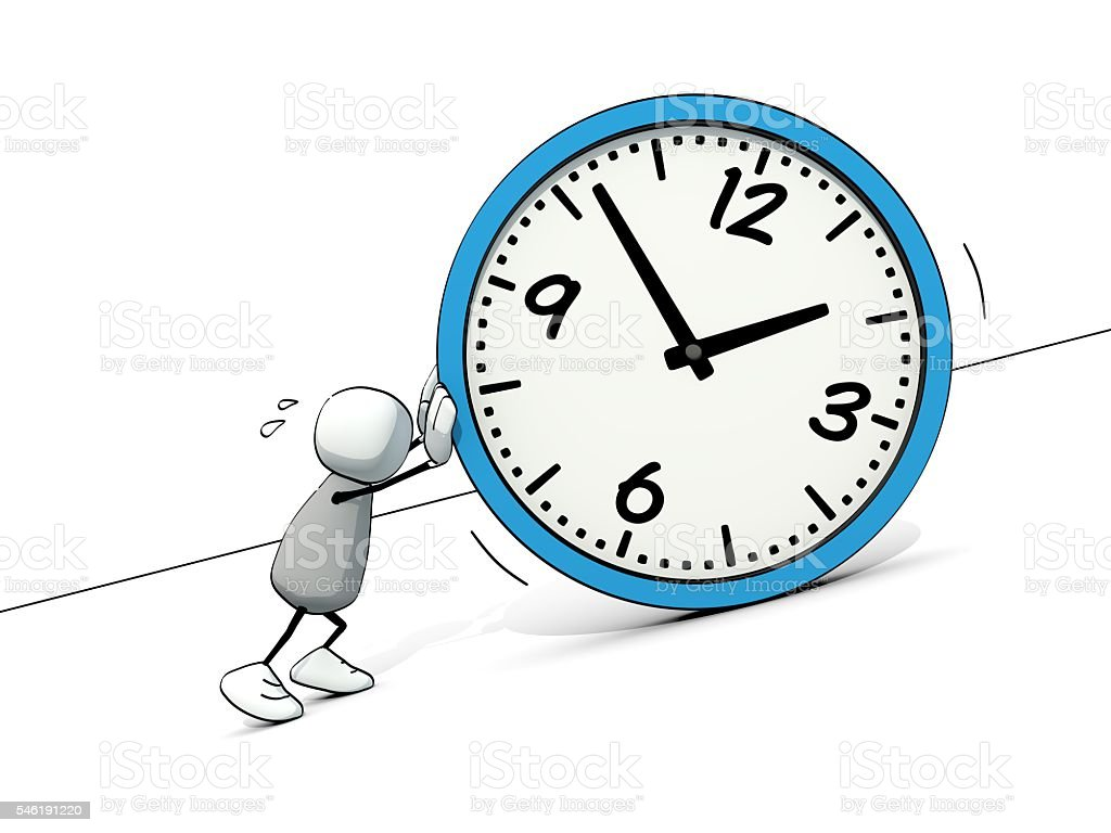little sketchy man as sisyphus rolling a big clock stock photo