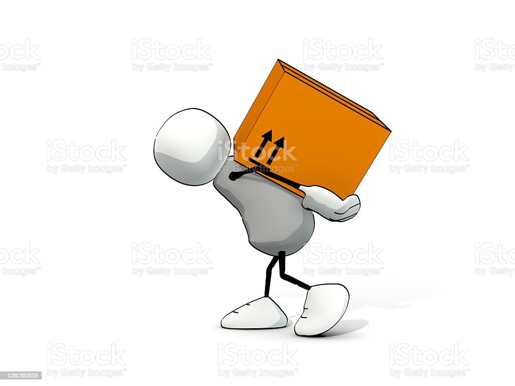 little sketchy man carrying a big package stock photo