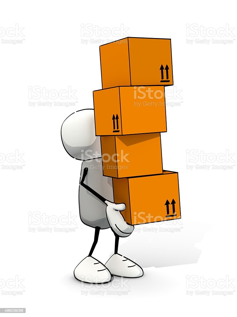 little sketchy man carrying a huge pile of packages stock photo