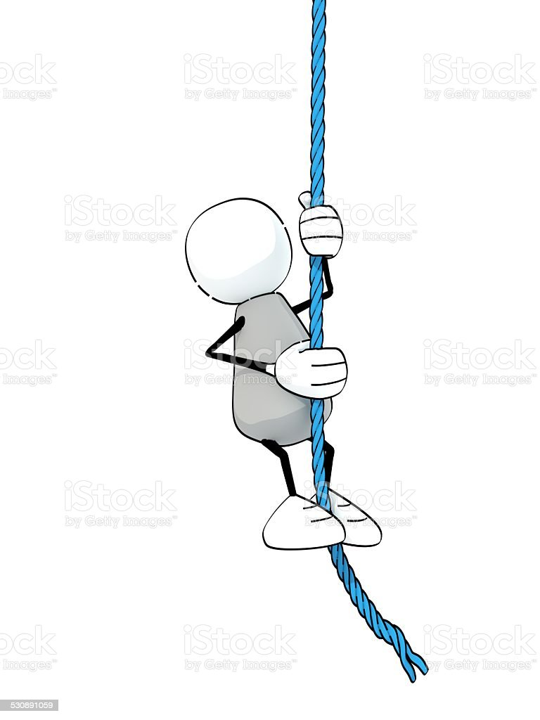 little sketchy man climbing up a blue rope stock photo