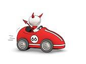 little sketchy man - devil in racing car
