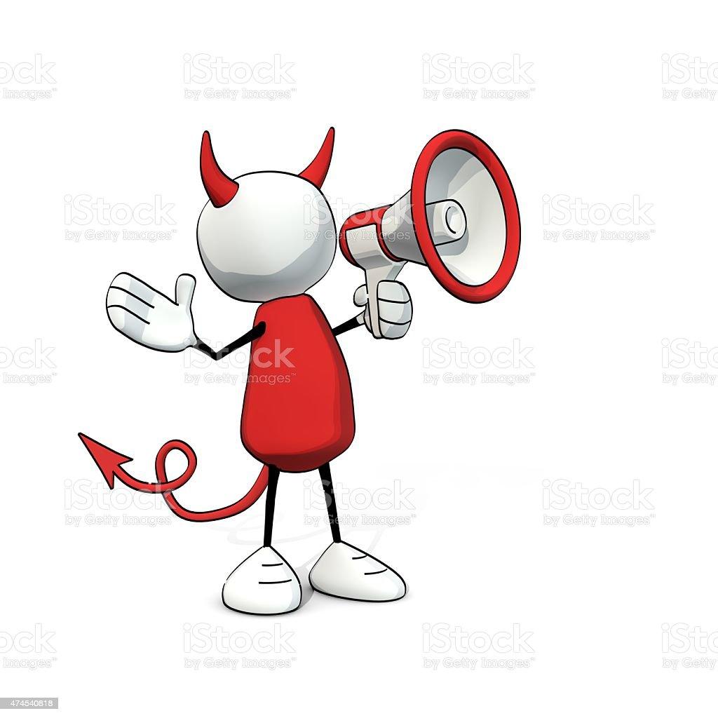 little sketchy man - devil with megaphone stock photo