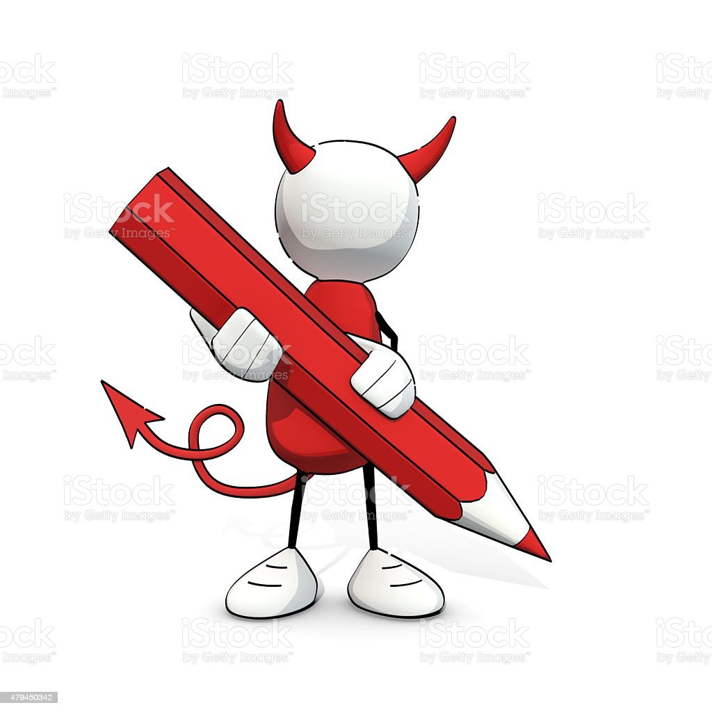 little sketchy man - devil with red pencil stock photo