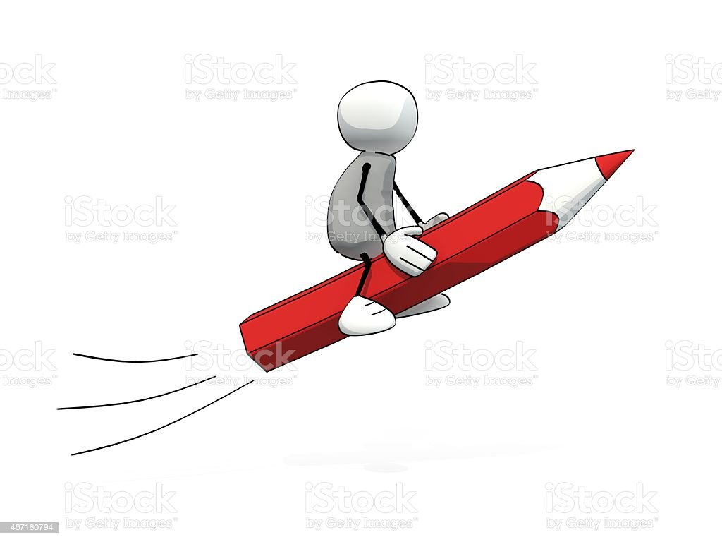 little sketchy man flying on a red pencil stock photo