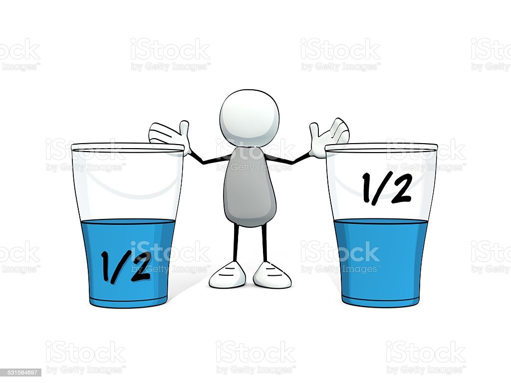 little sketchy man - glasses half full half empty stock photo
