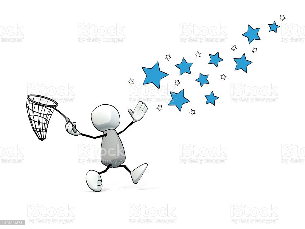 little sketchy man hunting stars with a net stock photo