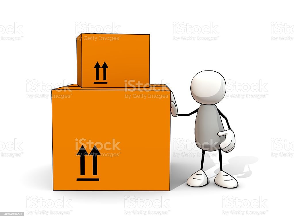 little sketchy man leaning on big packages stock photo