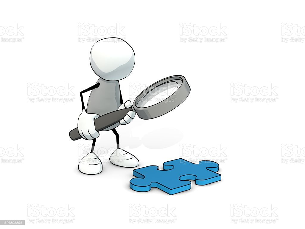 little sketchy man looking at piece of puzzle with magnifier stock photo