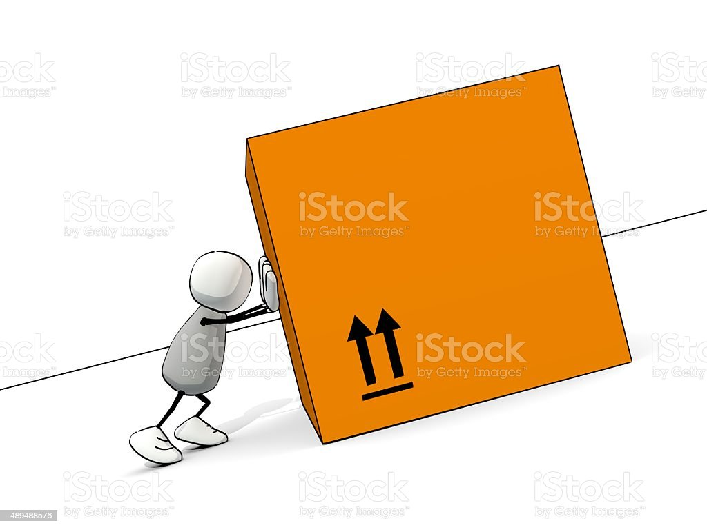 little sketchy man pushing a big package uphill stock photo
