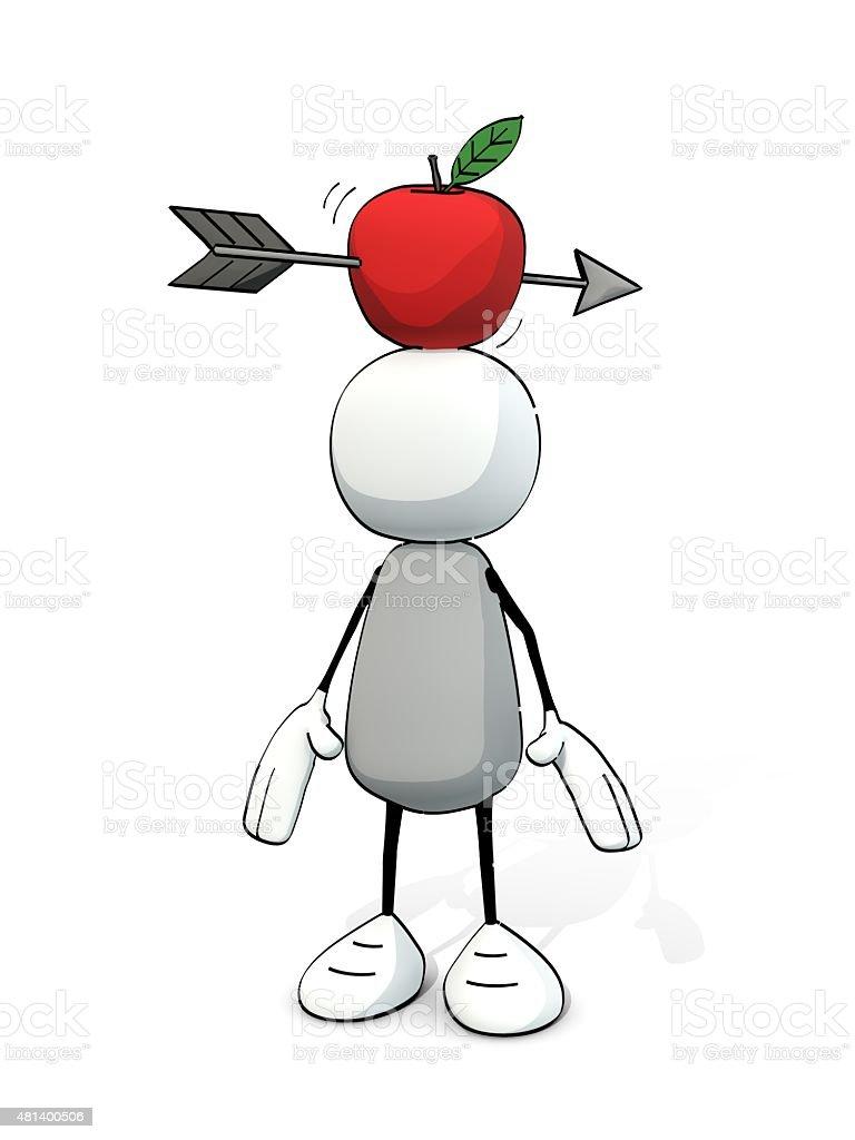 little skizzierte Mann mit Apfel mit Pfeil auf dem Kopf – Foto