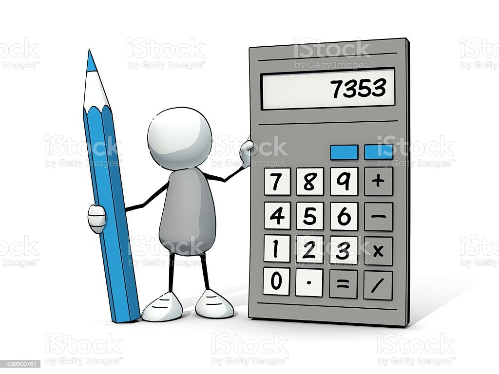 little sketchy man with calculator and pencil stock photo