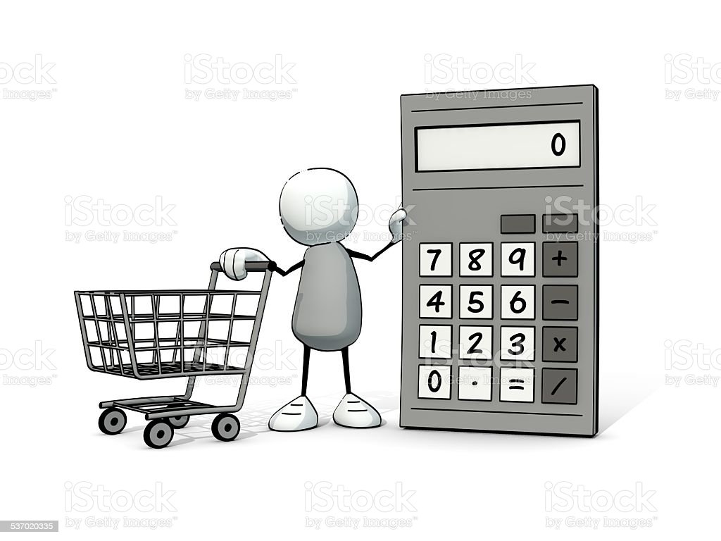 little sketchy man with calculator and shopping cart stock photo