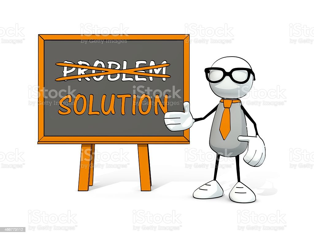 little sketchy man with glasses and board: problem - solution stock photo