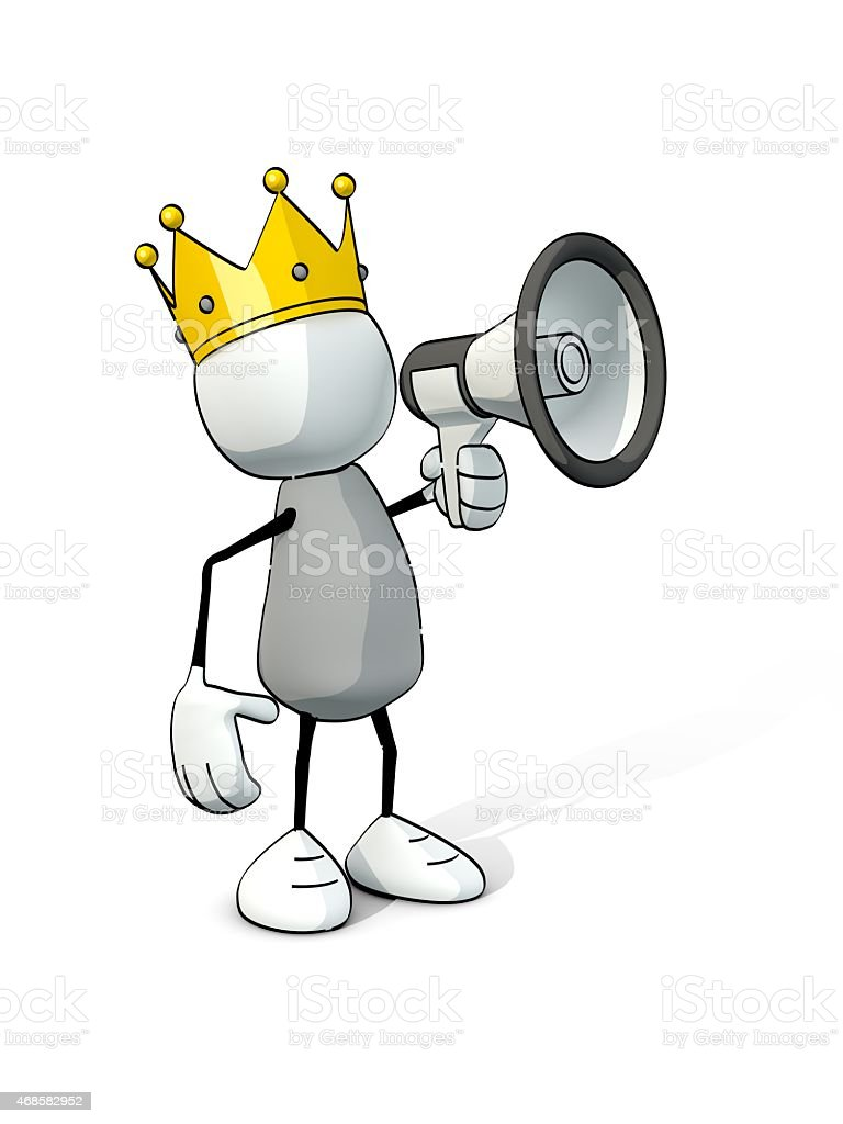 little sketchy man with king crown and megaphone stock photo