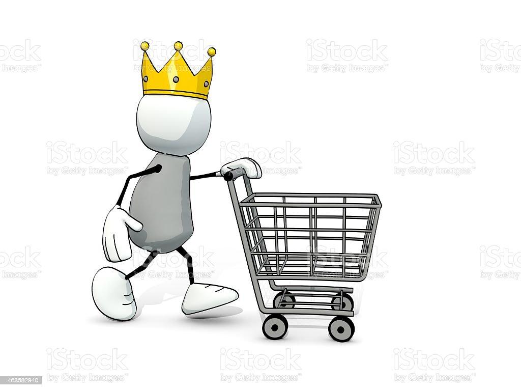 little esquisse homme avec grand couronne et panier d'achats - Photo