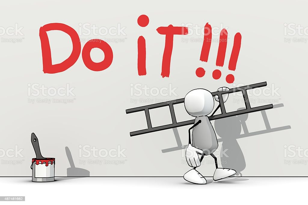 little sketchy man with ladder - do it stock photo