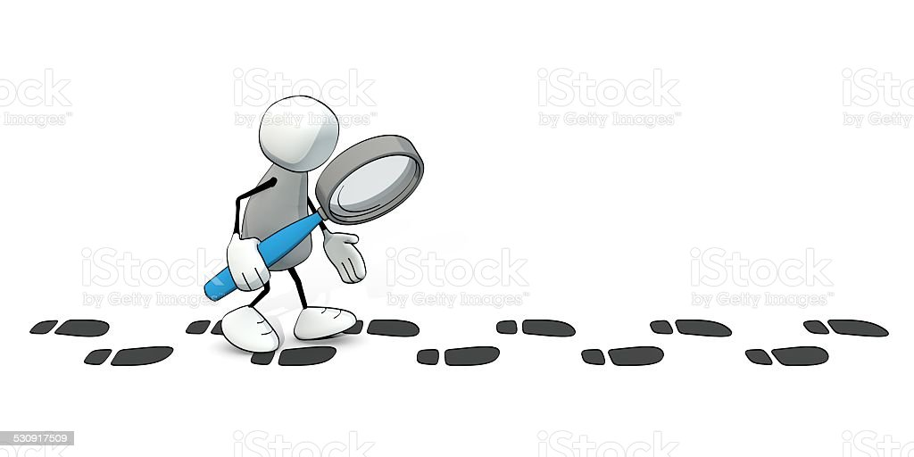 little sketchy man with magnifier following a track of footprints stock photo