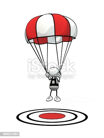 istock little sketchy man with parachute precision landing on aim point 466924954
