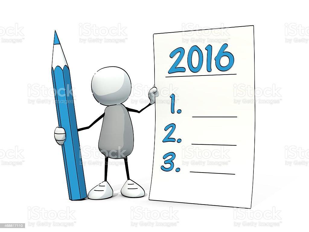little esquisse homme avec un crayon faire de bonnes résolutions pour 2016 - Photo