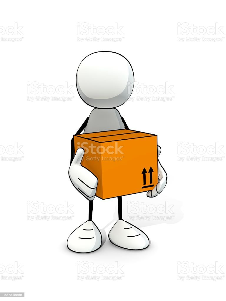 little sketchy man with postal package stock photo