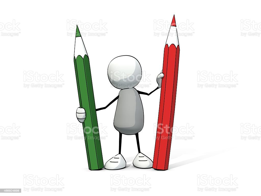little sketchy man with red and green pencil stock photo
