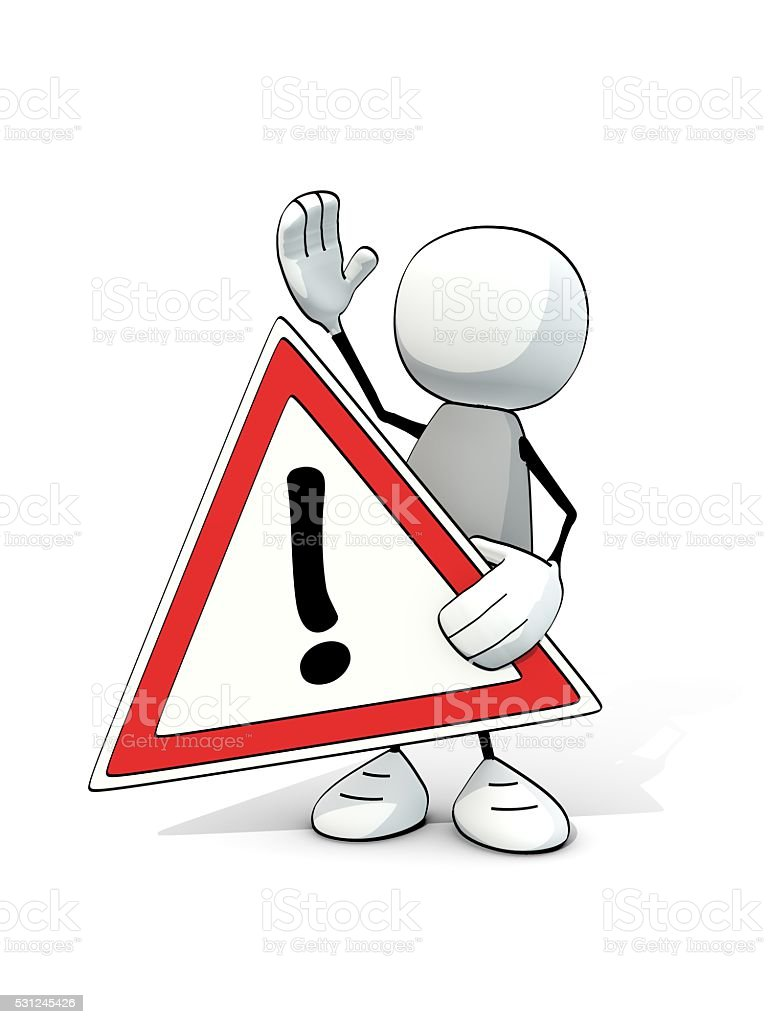 little sketchy man with red attention sign stock photo