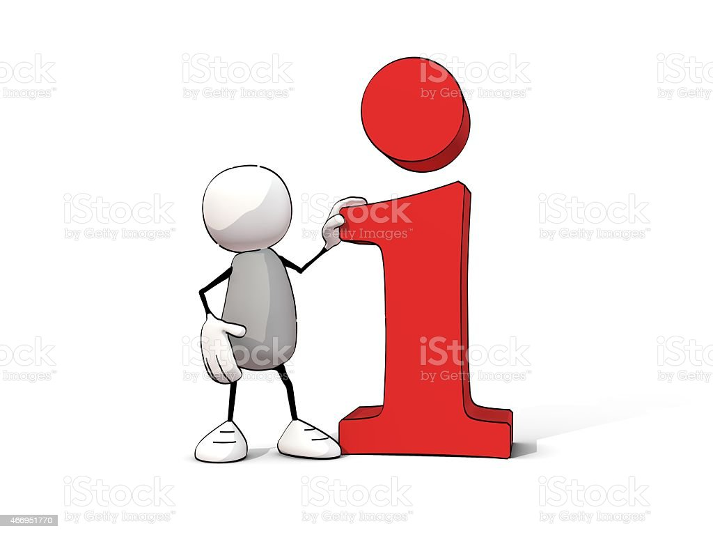 little sketchy man with red information 'i' stock photo