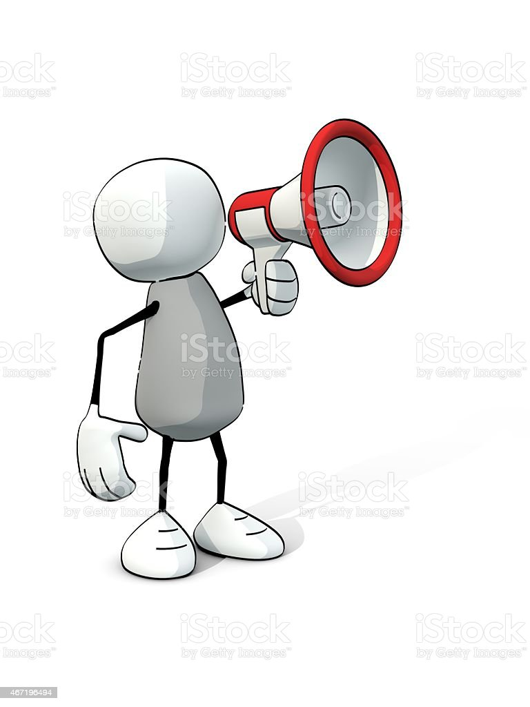 little sketchy man with red megaphone stock photo