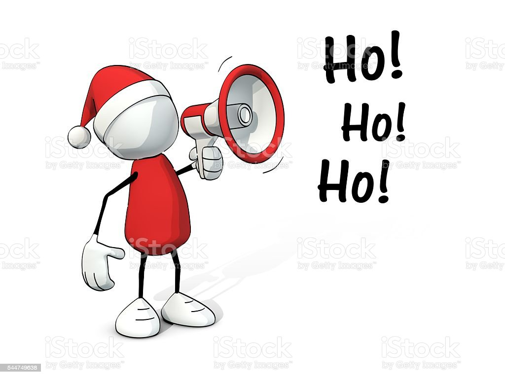 little sketchy man with santa hat and red megaphone stock photo