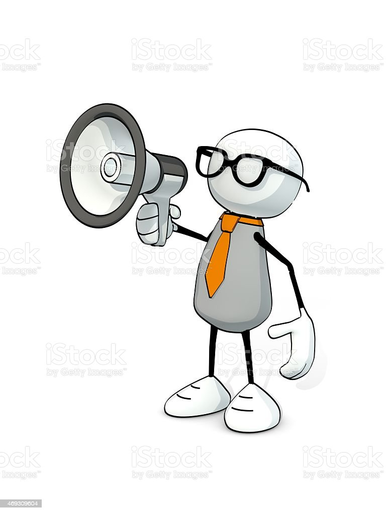 little sketchy man with tie and glasses and megaphone stock photo