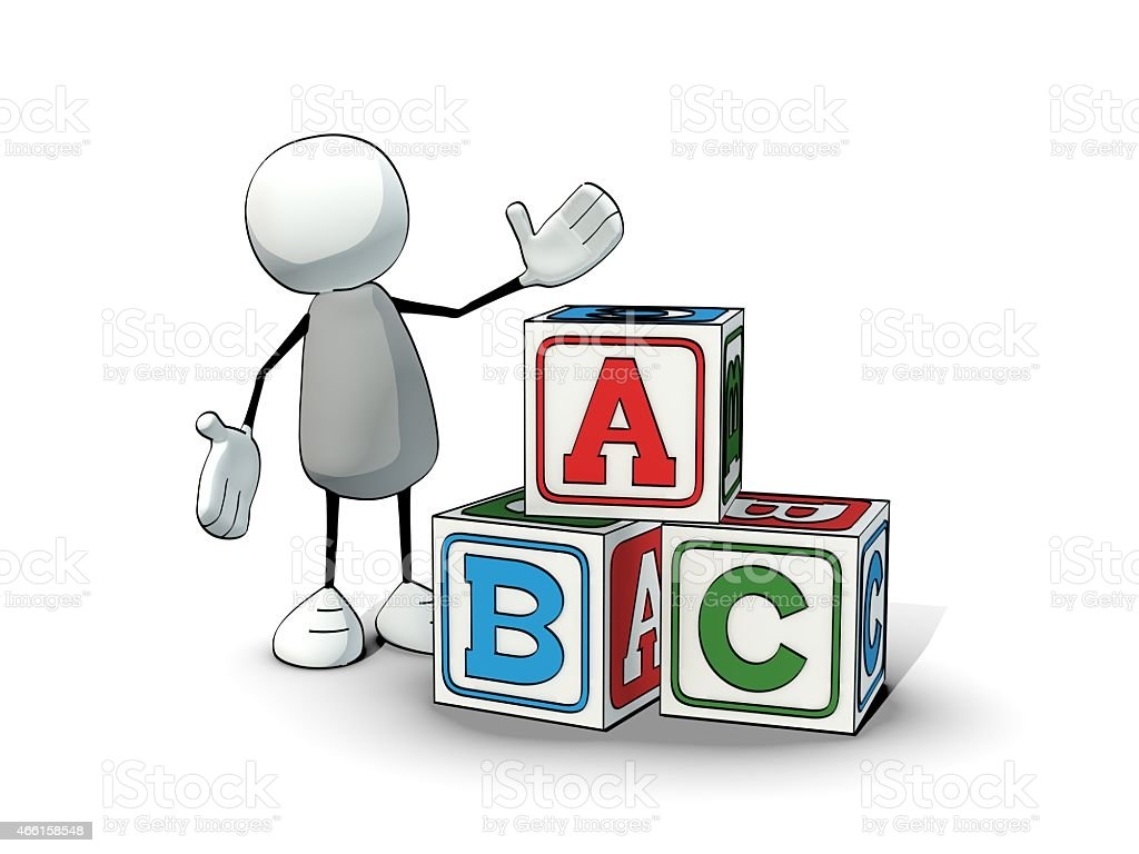little sketchy man  with toy blocks ABC stock photo