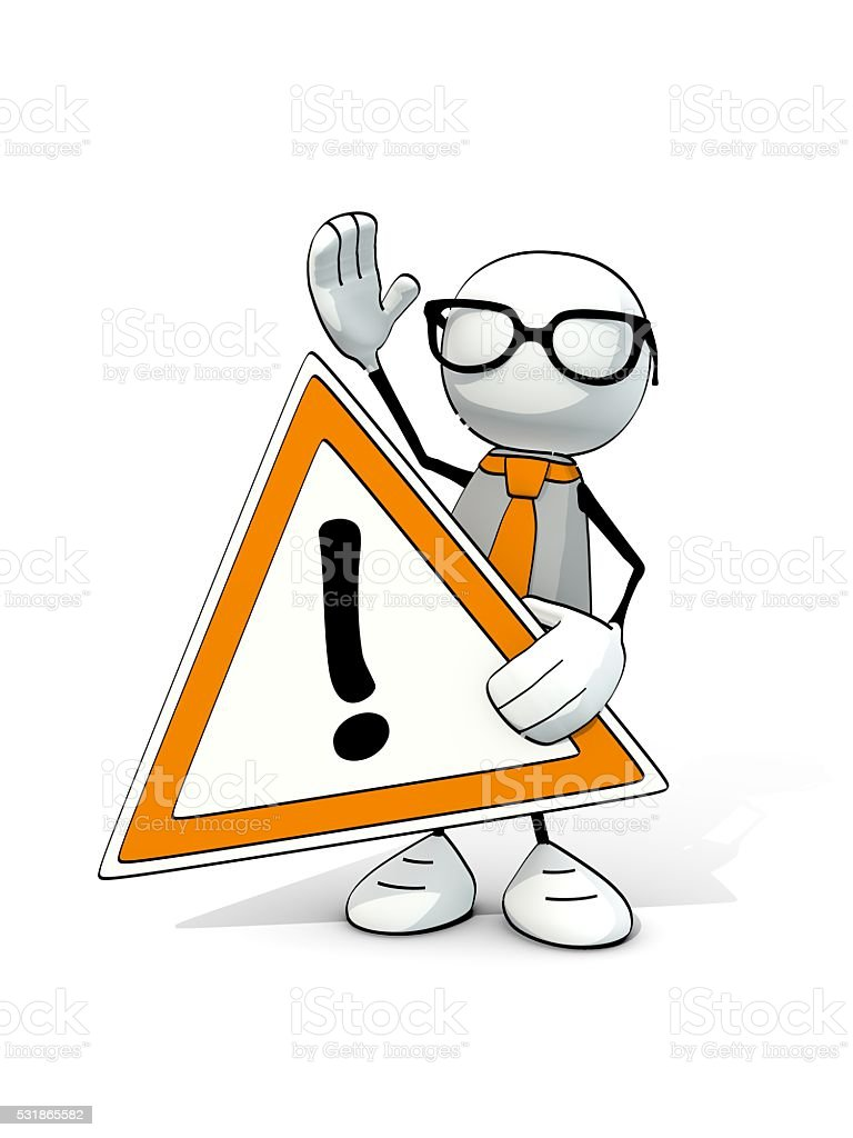 little sketchy man with with glasses and attention sign stock photo