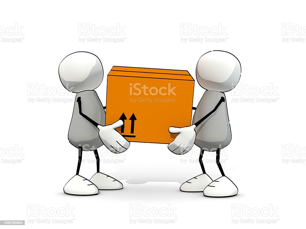 little sketchy men carrying a big package stock photo